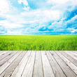 Wooden pier with grass field and blue sky background