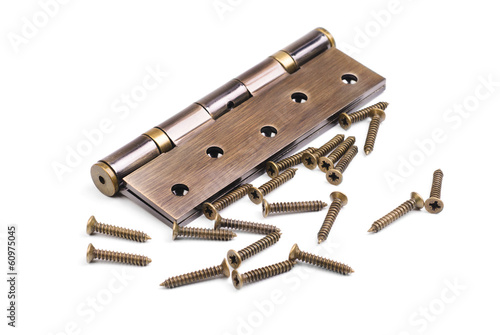 bronze hinge and screws isolation on a white background
