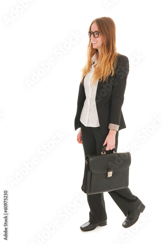 Business woman walking with black bag
