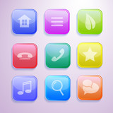 Colorful transparent 3D vector icons