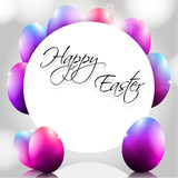 Happy Vector Background with Purple Eggs