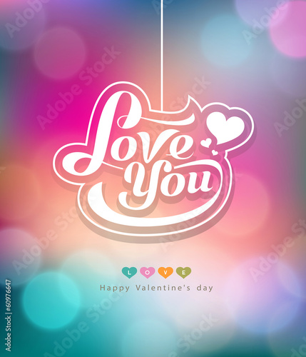 Colorful bokeh message love you valentines day design