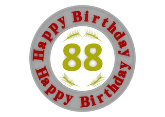 round happy birthday button with age