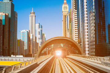 modern subway line in Dubai