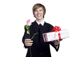 Man with rose and present