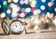 Leinwandbild Motiv new year clock glowing background