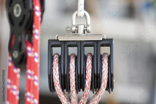 Pulley with rope for a sailboat