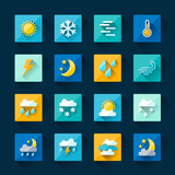 Weather icons set in flat design style.