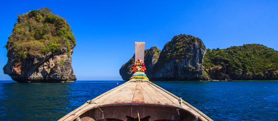 Head of long tail boat in Andaman sea, South of Thailand