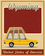 wyoming road trip vintage poster