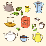Hand drawn vector set for your design: tea