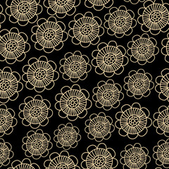 Beige subtle lacy flowers on black seamless pattern, vector