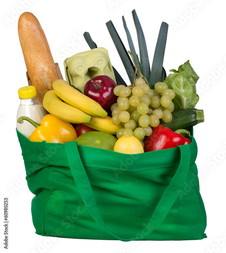 Groceries in green bag