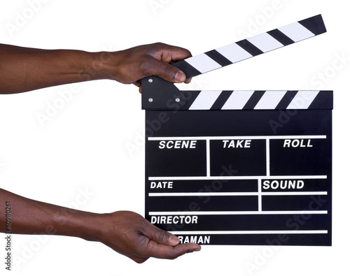 Man holing film clapper