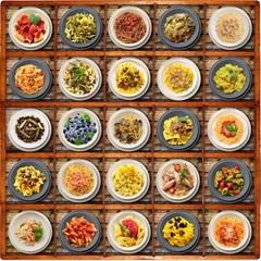 primi piatti di pasta italiana in bacheca