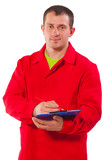 portrait of contractor with clipboard isolated on white backgrou
