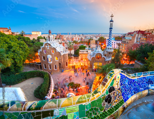 canvas print picture Park Guell in Barcelona, Spain.