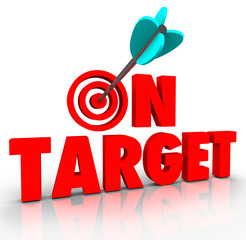On Target Words Arrow Bull's Eye Direct Hit Mission Progress