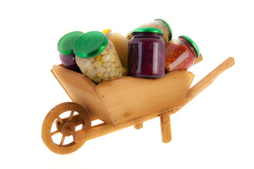 wheel barrow preserved vegetables