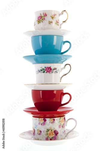 Stack vintage coffee or tea cups
