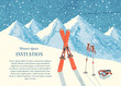 Ski winter mountain landscape card