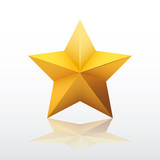 Gold five-pointed star. vector illustration