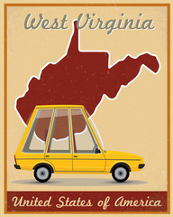 west virginia road trip vintage poster