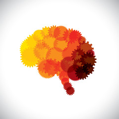 concept vector icon of abstract brain or mind with cogwheels