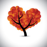 heart shaped love tree with speech bubbles icons - vector graphi poster
