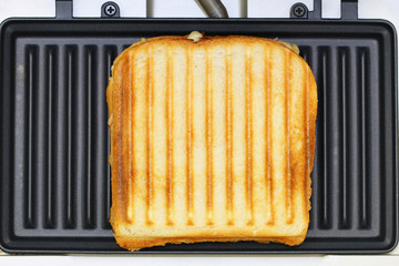 Toasted sandwich in toaster