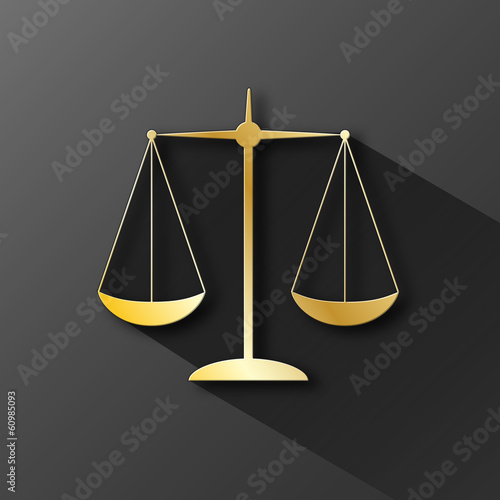"""SCALES OF JUSTICE"" Icon (rights legal advice law gold button)"