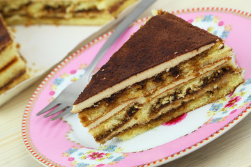 Tiramisu cake, close up