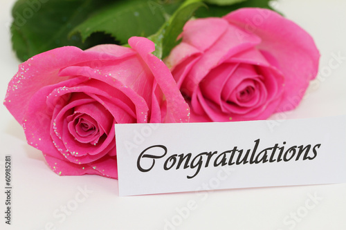 Congratulations card with two pink roses