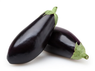 Eggplants isolated on white background with clipping path