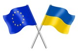 Flags : duet Europe and Ukraine