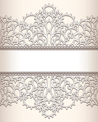 Old lace background with seamless ornate borders