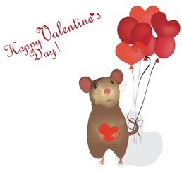 Valentine's Day Card with mouse and Heart Balloons