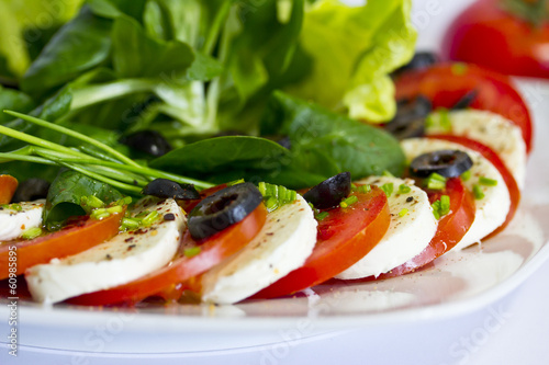 canvas print picture Tomate mit Mozzarella