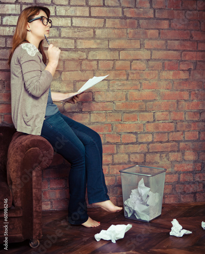 Young woman writer working