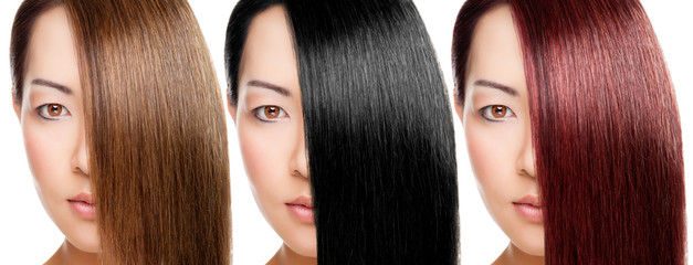 Beautiful young Thai woman with 3 versions of hair colour