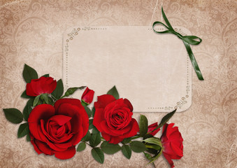 Vintage shabby background with red roses and a card