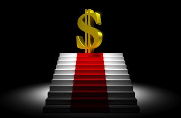 Simbolo del dollaro su scala illuminato