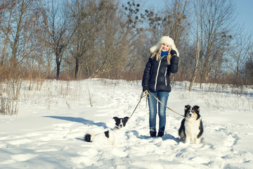 Girl on a walk with the dogs