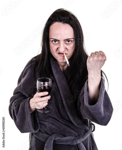 alcoholic, aggressive woman shaking fist