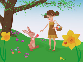 Easter bunny and a cute girl on an Easter egg hunt