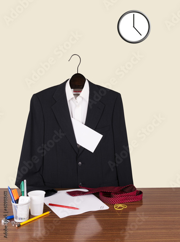Employee gone home leaving note - suit, letter and clock in offi