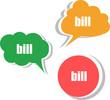 bill word on modern banner design template. set of stickers