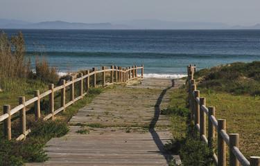 wooden gangway to ocean beach in galicia, Rias Baixas, Spain