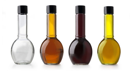 Olive oil and vinegar bottles.