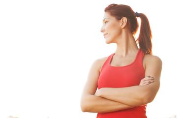 Smiling female runner in the park